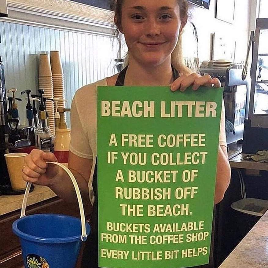 Collect trash and get a cup of free coffee